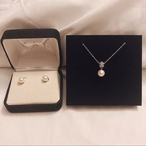14k Real Pearl Necklace & Matching Earrings Set